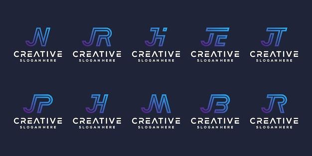 Stel modern letter j-logo-ontwerp in