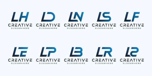 Stel modern letter l-logo-ontwerp in