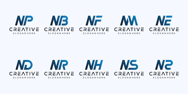 Stel modern letter n logo-ontwerp in