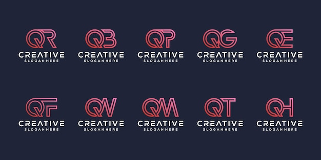 Stel modern letter q-logo-ontwerp in