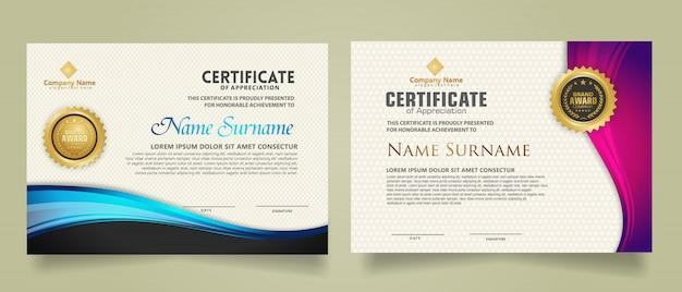 Stel moderne certificaatsjabloon met stroomlijnen ornament en moderne patroon achtergrond.