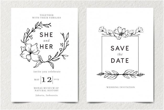 Stel moderne retro vintage bruiloft uitnodiging sjabloon kaart met zwart-wit overzicht doodle hand getrokken geïsoleerde bloemen en schoonheid elegante bloem sieraad decoratie vectorillustratie