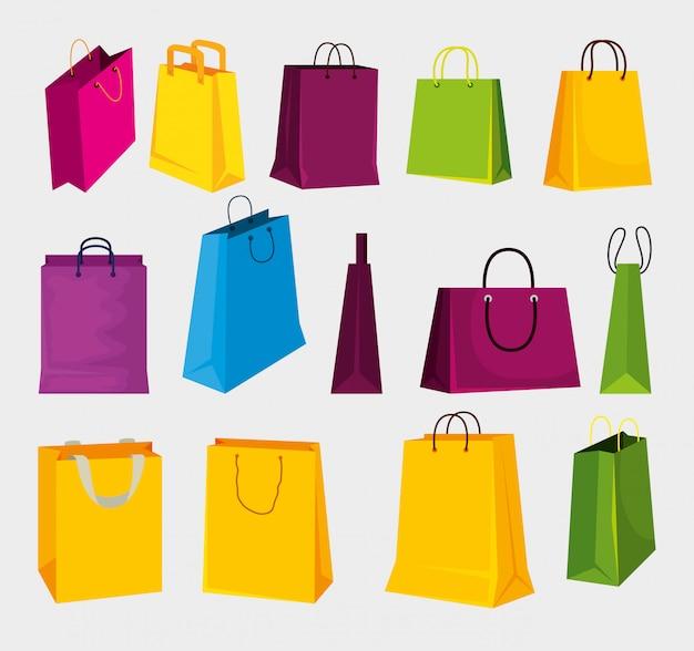 Stel modetassen in op winkelen op de markt