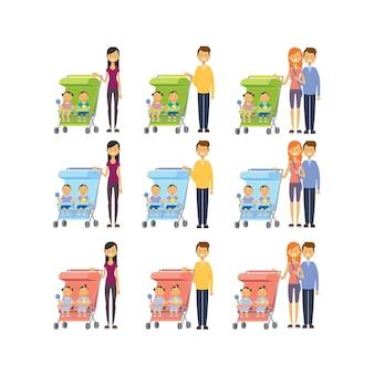 Stel moeder vader diverse poses zoon dochter dubbele tweeling baby in wandelwagen volledige lengte avatar