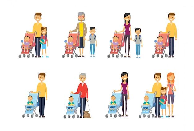 Stel moeder vader oma diverse poses zoon dochter baby in wandelwagen volledige lengte avatar