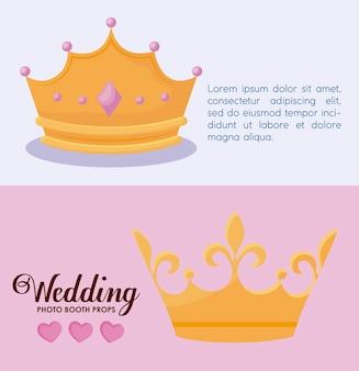 Stel monarchale kronen van koningin en koning in
