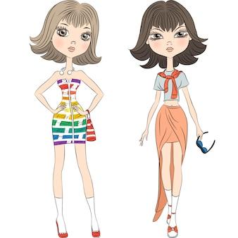 Stel mooie mode meisjes topmodel in zomerjurken
