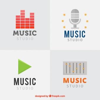 Stel muziekstudio's logos