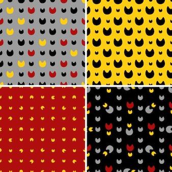 Stel naadloze patronen in met abstracte katten. vectorachtergrond voor gebruik in ontwerp. gebruik voor behang, stoffen, verpakking, textiel.