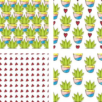 Stel naadloze patroon van cactussen en vetplanten in potten.