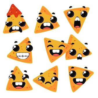 Stel nacho's in met emoties. grappige clipart voor kinderen. vectorillustratie in cartoon-stijl leuk