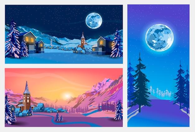 Stel nacht- en zonsonderganglandschappen in met winterstad, bos, bomen, bergen, sterrenhemel en maan. illustratie.