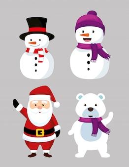 Stel nowmen in met nu beer en de kerstman