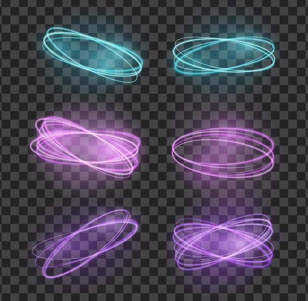 Stel o vuurlicht neon cirkels, sprankelend goud glitter gloed flare effect, spiraalvormige spin-kronkels in
