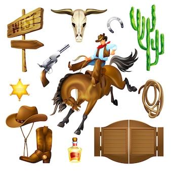 Stel objecten in van accessoires en objecten in het wilde westen.