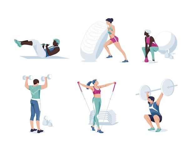 Stel od verschillende cartoon mensen trainen in moderne sportschool plat. atletische man en vrouw op trainingsapparatuur hebben verschillende fysieke oefeningen die genieten van sportactiviteiten