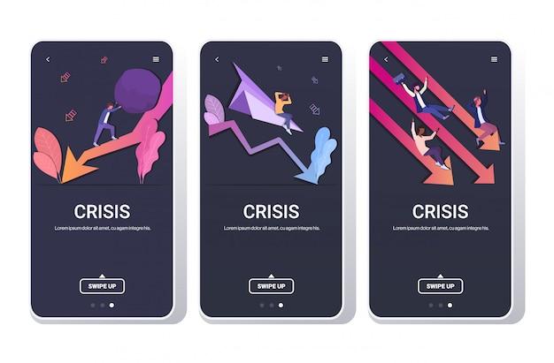 Stel ondernemers gefrustreerd over financiële crisis crash project neerwaartse grafiek bedrijfsfalen concepten collectie volledige lengte telefoonschermen mobiele app horizontaal