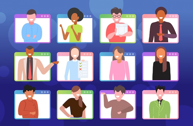 Stel ondernemers met online conferentie tijdens videogesprek extern werk quarantaine isolatie concept. mix race werknemers in webbrowser windows portret horizontale afbeelding