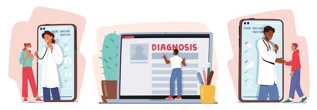 Stel online medisch consult op afstand in. slimme medische technologieën. artsen communiceren met patiënten via het computer- en mobiele telefoonscherm vanuit het ziekenhuiskastje. cartoon vectorillustratie