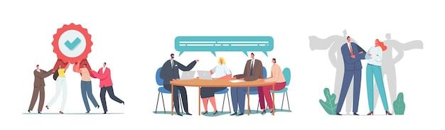 Stel ons team in. vrolijke zakenmensen met award, managers super heroes perfect teamworking group. zakenlieden en zakenvrouwen personages office medewerkers meeting. cartoon mensen vectorillustratie