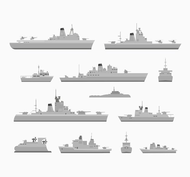 Stel oorlogsschepen in voor design en creativiteit