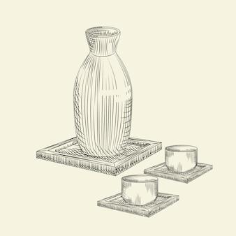 Stel os japanse belang en kop geïsoleerd in. keramische fles sake hand getrokken schets.