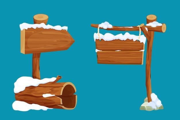 Stel oude boom log pijl uithangbord hangende houten plank met touw en sneeuw in cartoon-stijl