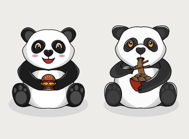 Stel panda die noedels en hamburger eet