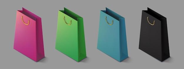 Stel papieren realistische kleurrijke boodschappentas in. mockup isometrisch pakket voor aankopen.