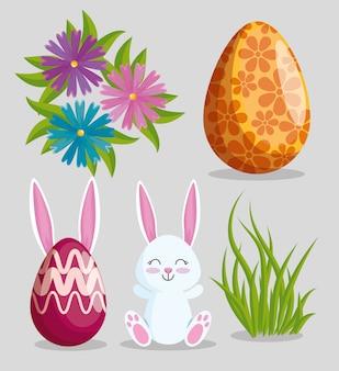 Stel pasen konijn met eieren decoratie en bloemen