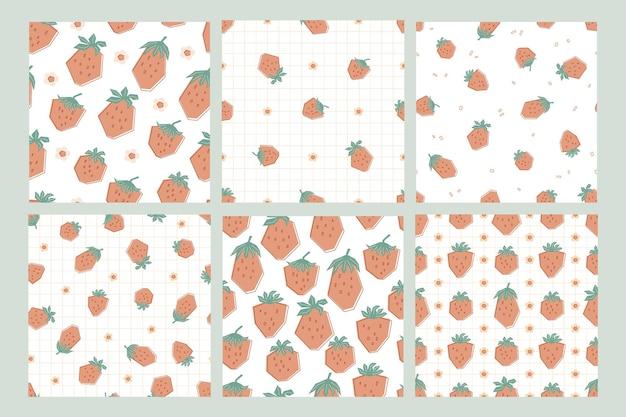 Stel patronen in met grote en kleine aardbeien in pastelkleuren. achtergrond met zomer bessen. illustratie in vlakke stijl voor kinderen van kleding, textiel, behang. vector