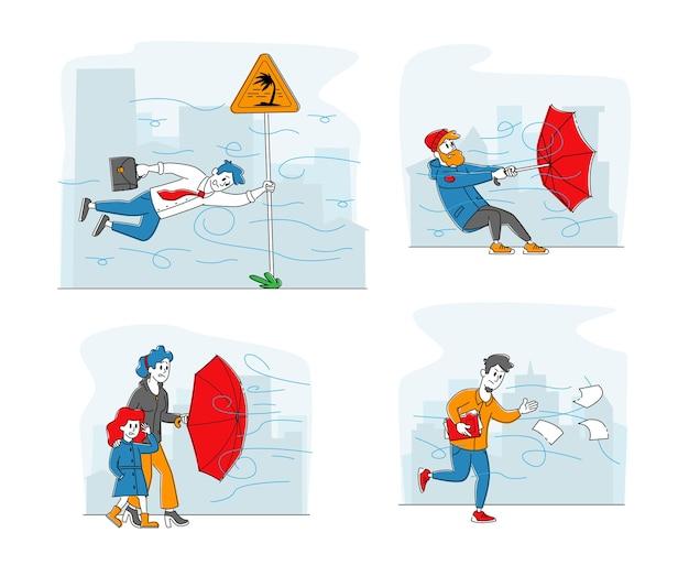 Stel personages in die vechten met sterke wind, man met vernietigde paraplu die probeert te beschermen tegen storm en regen. zakenman opknoping op verkeersbord, dochter en moeder. lineaire mensen