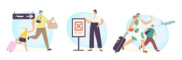 Stel personages voor ouders en kinderen in een stressvolle reissituatie. gezin met kinderen te laat voor instappen vliegtuig met tassen naar gesloten poorten overstuur door gemiste vlucht. cartoon mensen vectorillustratie