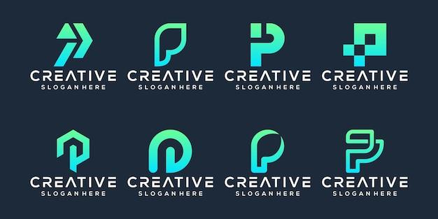 Stel pf letter p logo-ontwerp in