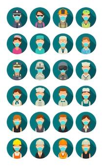 Stel pictogram mensen verschillende beroepen in. karakterkok, bouwer, bedrijf, leger, politie, brandweerman en dokter. platte vectorillustratie op turquoise cirkel.