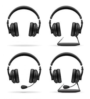 Stel pictogrammen akoestische hoofdtelefoons vectorillustratie