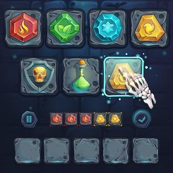 Stel pictogrammen en armbeen in op de stenen knoppen. voor games, gebruikersinterface, ontwerp.