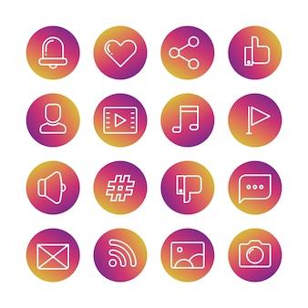 Stel pictogrammen in van bel, hart, duim omhoog, avatarprofiel, videospeler, muzieknoot, vlag, megafoon, hashtag, duim omlaag, tekstballon, envelop, rss, fotografie en fotocamera
