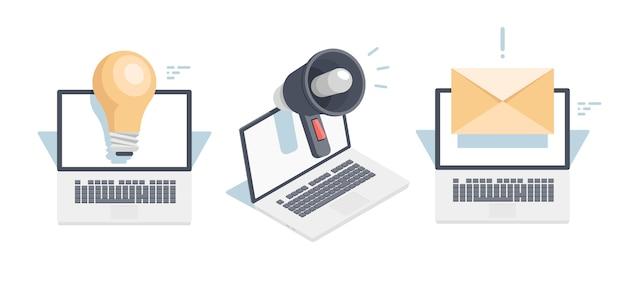 Stel pictogrammen in voor digitale promotie en public relations op internet