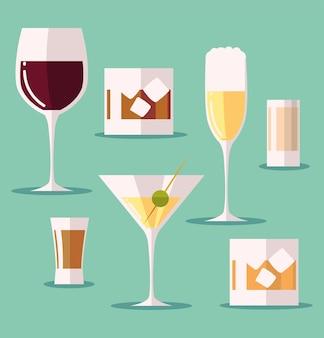 Stel pictogrammen met glas wijn martini cocktalis whisky dranken