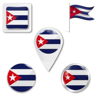 Stel pictogrammen nationale vlag van cuba