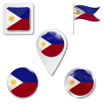 Stel pictogrammen nationale vlag van filipijnen