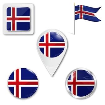 Stel pictogrammen nationale vlag van ijsland