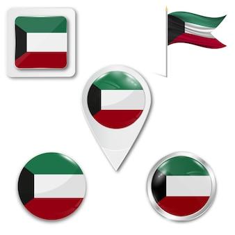 Stel pictogrammen nationale vlag van koeweit