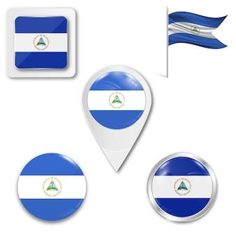 Stel pictogrammen nationale vlag van nicaragua