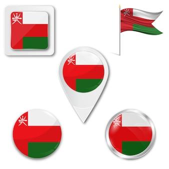 Stel pictogrammen nationale vlag van oman