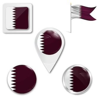 Stel pictogrammen nationale vlag van qatar