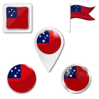 Stel pictogrammen nationale vlag van samoa eilanden