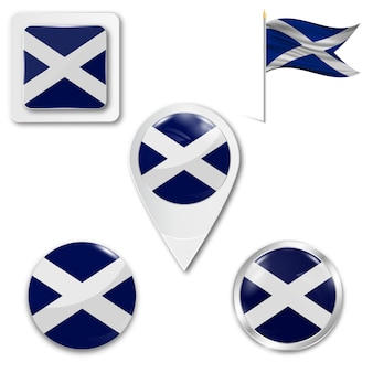 Stel pictogrammen nationale vlag van schotland