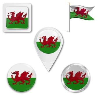 Stel pictogrammen nationale vlag van wales